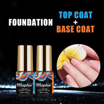 Maphie 2Pcs/Lot Base Coat Top Coat UV Nail Gel Polish Soak Off Base Coat Nail Primer Long Lasting Led UV Top Coat Gel Polish
