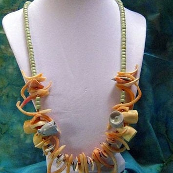 Sea Shell Necklace Hawaiian Lt. Orange,Blue Shell, White Shells,Seafoam Green Coconut Beads Vintage Tropical Necklace