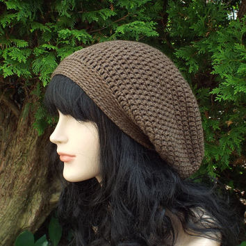 Cocoa Brown Slouch Beanie - Womens Slouchy Crochet Hat - Ladies Oversized Cap - Hipster Hat - Baggy Beanie