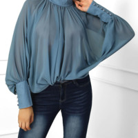 Fashion New Fashion Bat Sleeve Loose Chiffon Top