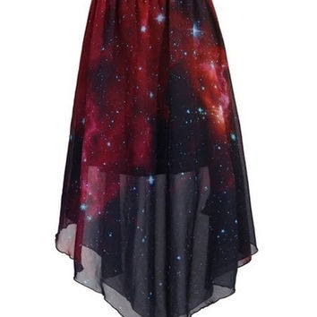 Wine Red Universe Galaxy Prints Style Star Chiffon Skirt (Color: Wine) = 1945857668