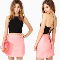 Chiffon Chest Cover Hollow Back Halter Tie Tops