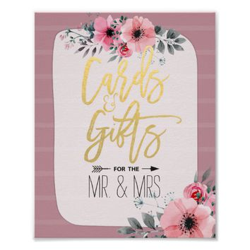 Watercolor Floral Script Cards Gifts Wedding Sign