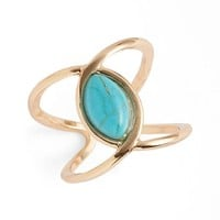 Junior Women's BP. Natural Stone Curved Ring - Turquoise/ Gold