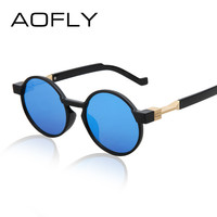 AOFLY Fashion Women Round Sunglasses Summer Cool Men Sunglasses Mirror Lens circle Sunglass Eyewear Shades Oculos De Sol 7 color