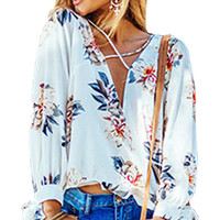 2017 Bohemian Style Summer Deep V Neck Plunge Long Sleeve Loose Casual Tops