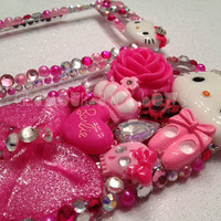 iPhone 4 4S Hot Pink Leopard Hello Kitty Case by GLAMOURandBOWS