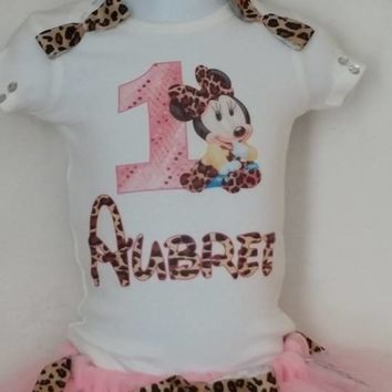 Pink Minnie Mouse Leopard Tutu Outfit,
