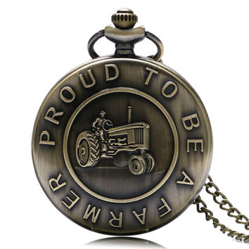 """Retro Vintage Quartz Pocket Watch """"Proud to Be A Farmer"""" Cool Antique Style Necklace Pendant For Men Women Chain Birthday Gift"""