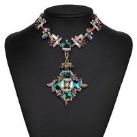 Crystal Gem Pendant Statement Necklace Chunky Chokers