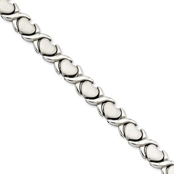 Stainless Steel Hugs and Kisses Link Bracelet, 7.5 Inch