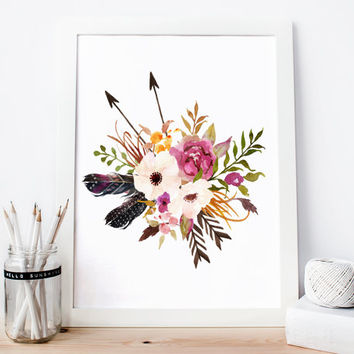 Art print Watercolor Print Botanical Print Printable Art Floral print, floral nursery print, boho wall decor shabby chic wall decor