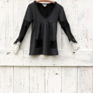 Upcycled women's hoodie, indie fashion shirt, recycled princess sleeves top, black upcycled babydoll tunic, women's size small