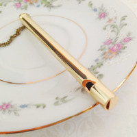 Vintage Style Whistle Necklace. Long Whistle. Long Necklace. Brass Chain. Dainty. Minimalist. Simple. Whimsical. Unique Accessory. Under 20.
