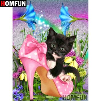 5D Diamond Painting Kitten in the Shoe Kit