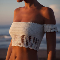 Handmade crochet Women Top Wrapped chest  off the shoulder - Boho Sexy Behind Open Crop Top tassels