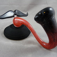 The Stash - Cherry Red to Jet Black inside-out fade Sherlock Glass Mustache Pipe