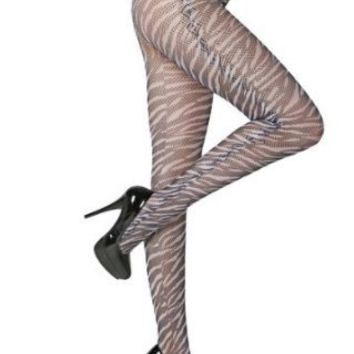 Sexy Zebra Printed Mesh Fashion Pantyhose Tights O/S