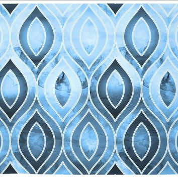 Art Deco Blue and Black and White Abstract Design Tapestry Wall Hanging Meditation Yoga Grunge Hippie
