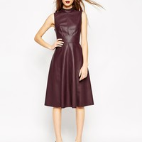 ASOS Midi Skater Dress in Leather Look with High Neck
