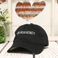 UH HUH HONEY Baseball Hat Low Profile Embroidered Baseball Caps Dad Hats Black