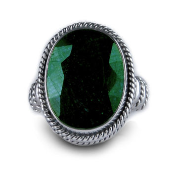 Balinesia Artisan Crafted Sterling Silver 19 Carat Emerald Ring