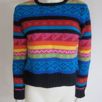 Tribal Sweater 1980s / Tommy Hilfiger / Patterned / Bright Colors / Womens / Medium / Aztec / Wool / Preppy