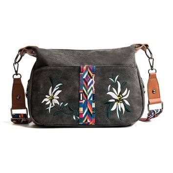 Embroidery Floral Women  Vintage Suede Retro Crossbody Hobos Bag Colorful Strap Handbag
