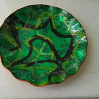 Vintage 60's foil resin overlay green,black,and gold abstract design decorative scalloped edge bowl