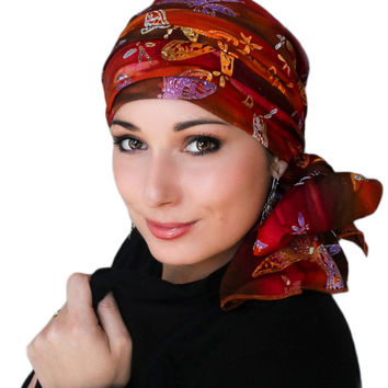 Cinnamon Dragonfly Turban, Head Wrap, Alopecia Scarf, Chemo Hat & Scarf Set