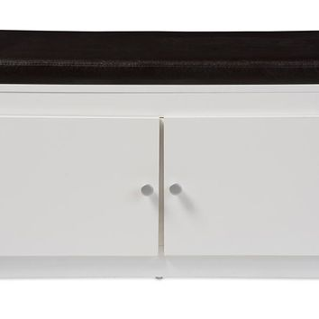 Baxton Studio Margaret Modern and Contemporary White Wood 2-Door Shoe Cabinet with Faux Leather Seating Bench Set of 1