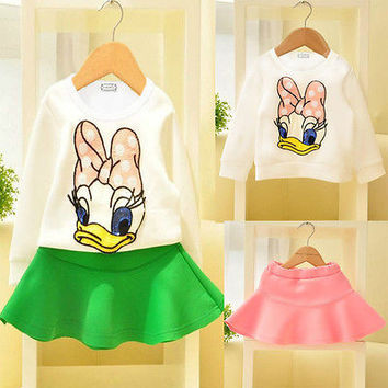 Girls Daisy Duck Outfit, 2 piece Top and Skirt