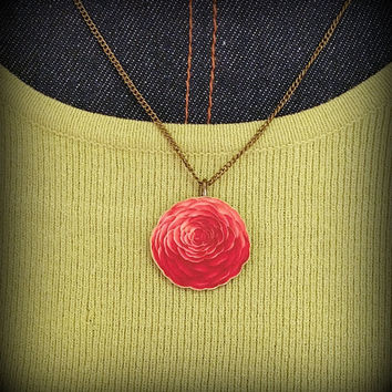 Red Camellia Necklace - Red Flower Necklace - Spring Necklace - Spring Fashion Accessory - Flower Necklace - Plastic Flower Necklace