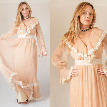 70s Sheer Lacy Boho Maxi Dress Size - Small | Womens Vintage Long Hippie Bohemian Dress Poet Bell Sleeve Victorian Dress Nude Apricot White