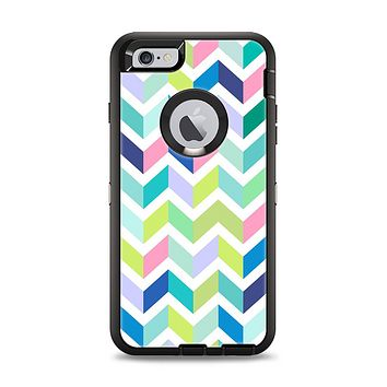 The Fun Colored Vector Segmented Chevron Pattern Apple iPhone 6 Plus Otterbox Defender Case Skin Set