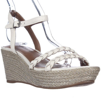Lucky Brand Lyall Espadrille Wedge Braided Strap Sandals, Nigori/Silver, 6 US