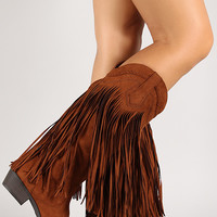 Suede Fringe Mid Calf Western Boot