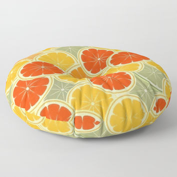 Summer Citrus Slices Floor Pillow by digitaleffects