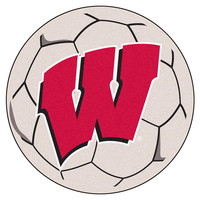 Wisconsin Badgers NCAA Soccer Ball Round Floor Mat (29) W Logo