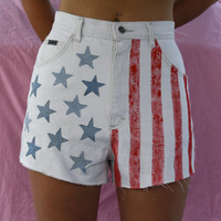 Vintage HIgh Waisted American Flag Shorts
