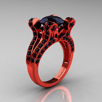 Brunhilde  French Vintage 14K Red Gold 30 CT Black by artmasters