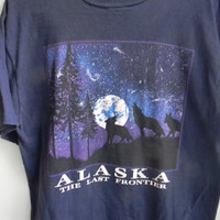 vintage alaska: the last frontier wolf t-shirt