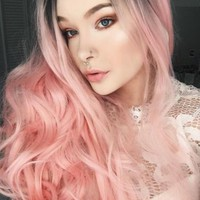 BLACK TO PINK BOUNCY WAVY LONG SYNTHETIC LACE FRONT WIG