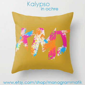 Monogram Personalized Custom Pillow Cover 16x16 Mustard White Ochre Hot Pink Neon Orange Blue Paint Splatter Couch Bedroom Decor