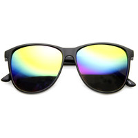 Retro Color Mirrored Lens Large Horned Rim Sunglasses 8949
