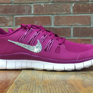 Women's Nike Free Run 5.0+ Running Jogging Training Shoes Customized With Swarovski Elements Crystal Rhinestones Pink purple White