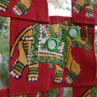 Elephant Patchwork Wall Hanging, Ethnic Bohemian Wall Art with Hand Block Print, Mirror Work, Artificial Sea Shell & Beads, Indian Tapestry