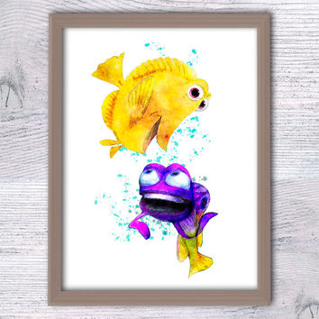 Gurgle Finding Nemo watercolor print Finding Nemo Gurgle and Bubbles art poster Disney decor Nursery room art Gift idea Baby shower gift V58