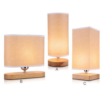 OAK wood dimmable table lamp fiberflax fabric lampshade bedroom warmly decoration light night lamp modernstyle