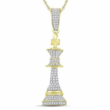 10kt Yellow Gold Men's Round Diamond King Chess Piece Charm Pendant 3-8 Cttw - FREE Shipping (US/CAN)